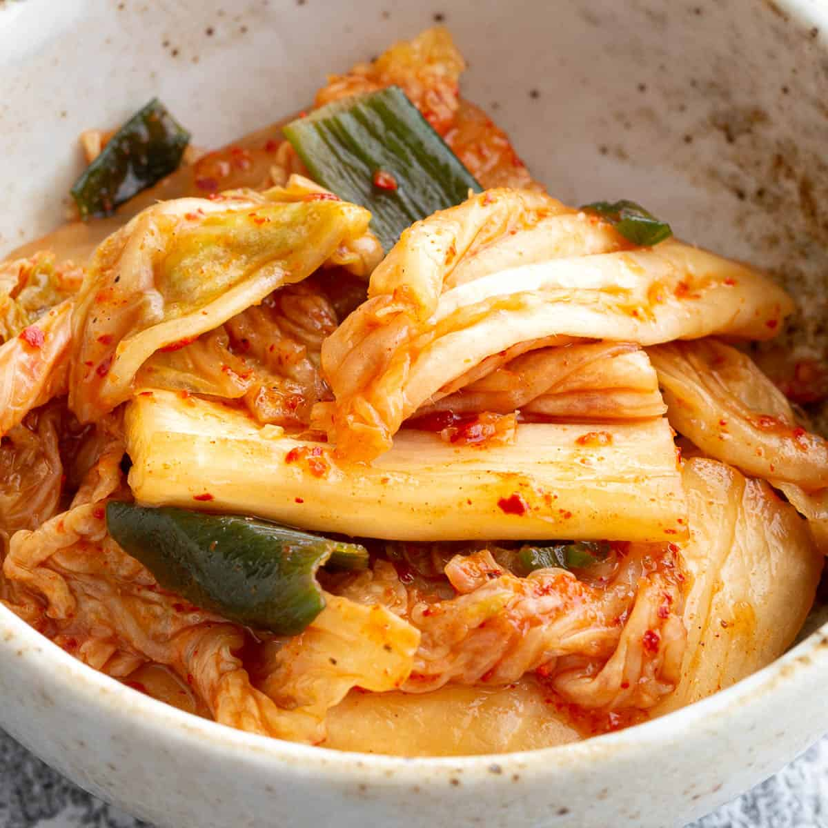 Fresh homemade kimchi in a bowl.
