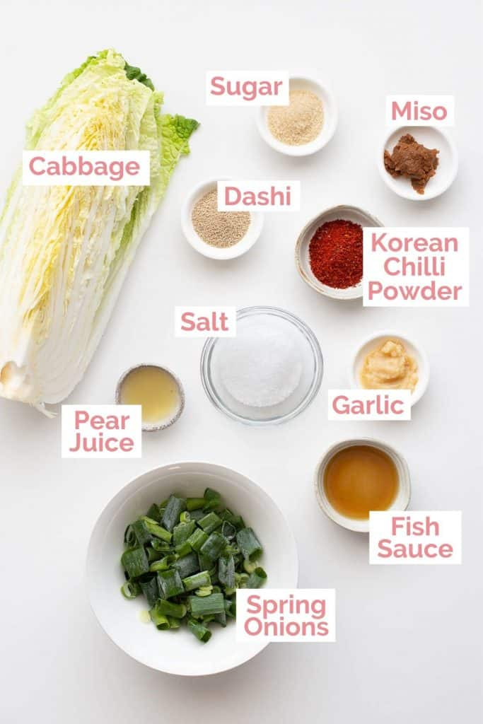 Ingredients laid out to make Korean kimchi.