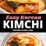 Two images of fresh kimchi in a jar with text overlay.