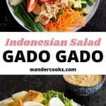 Two photos of gado gado salad with text overlay.