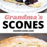 A collage of scone images with jam and cream.