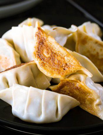 Close up of the crispy bottom on a Japanese gyoza dumpling.