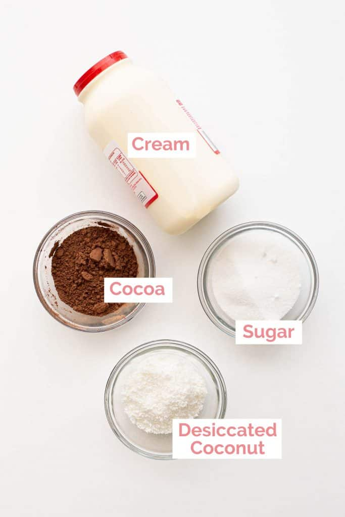 Ingredients laid out to make chocolate mousse with cocoa powder.