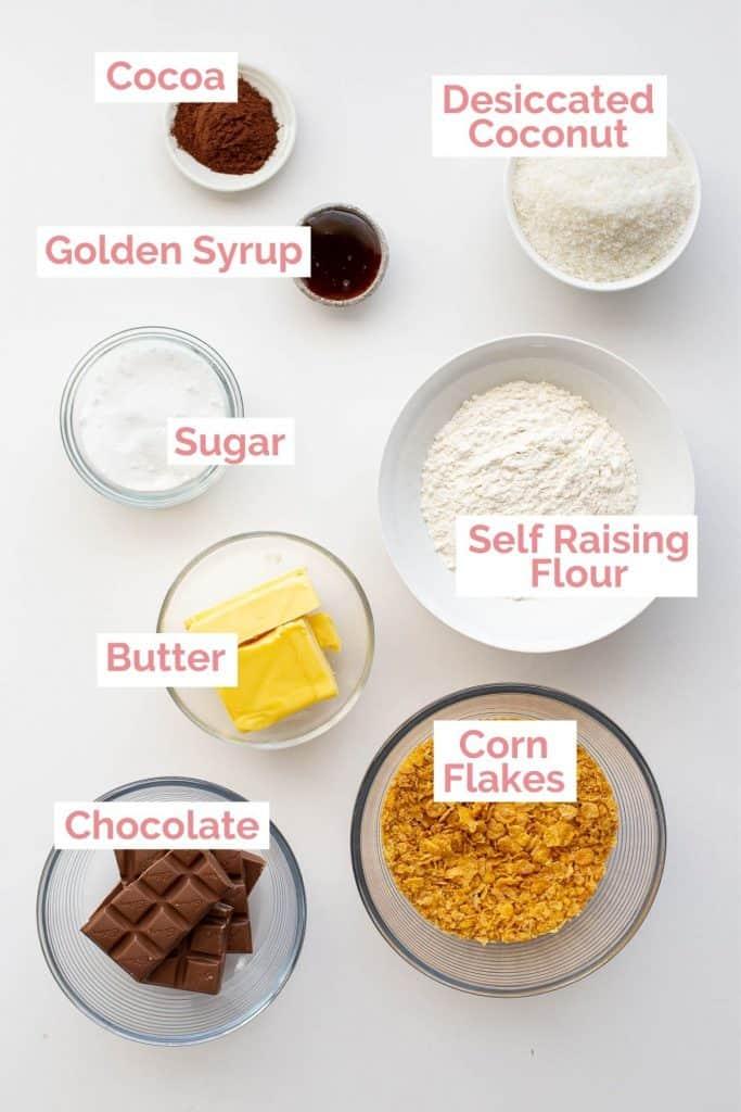 Ingredients for Aussie crunch recipe.