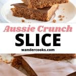 Stack of chocolate coconut slices and text overlay.