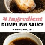 Dumpling dipping sauce images with text overlay.