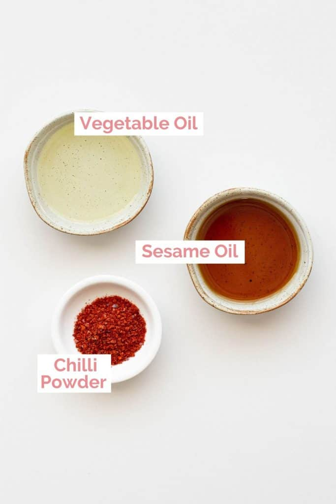 Ingredients laid out for rayu chilli oil.