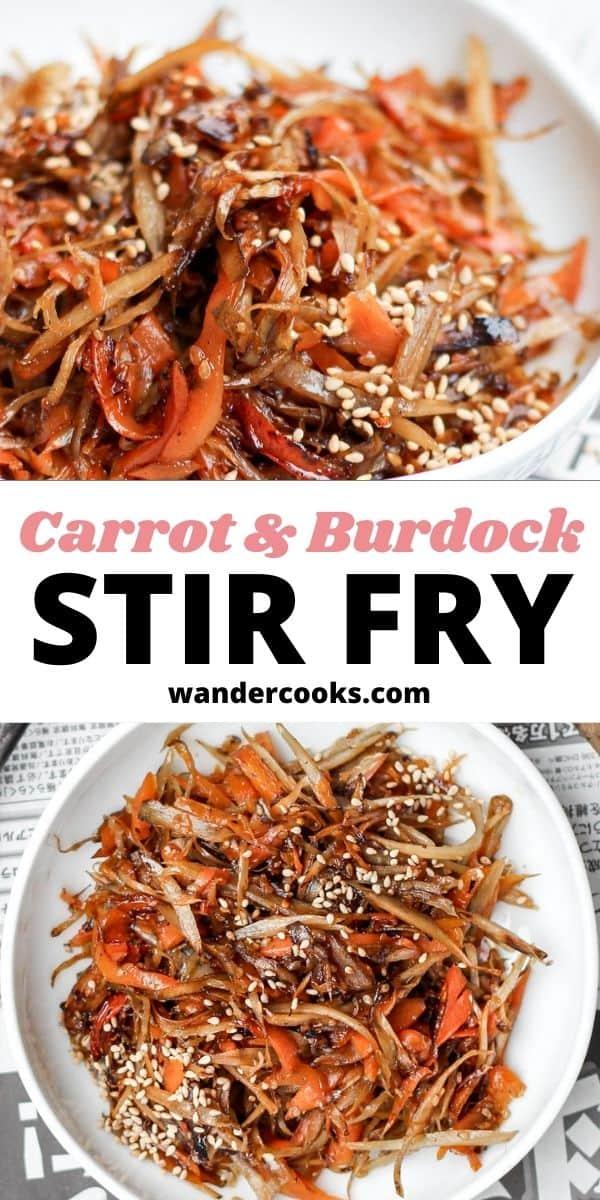 Kinpira Gobo - Japanese Burdock and Carrot Stir Fry