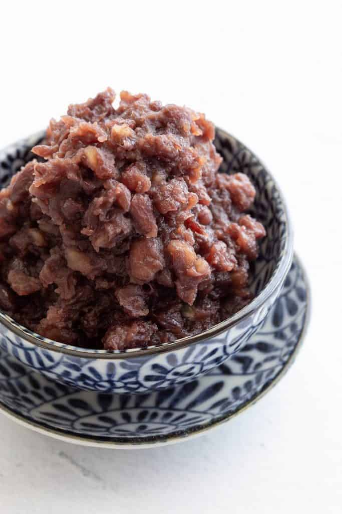 Close up view of texture in sweet red bean paste.