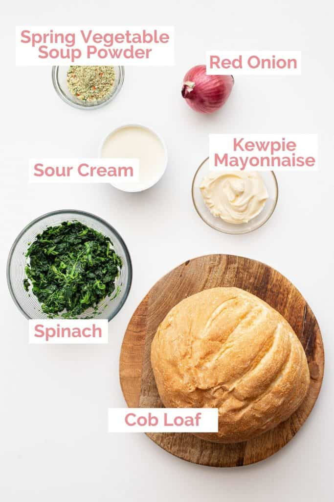 Ingredients laid out for spinach cob loaf.