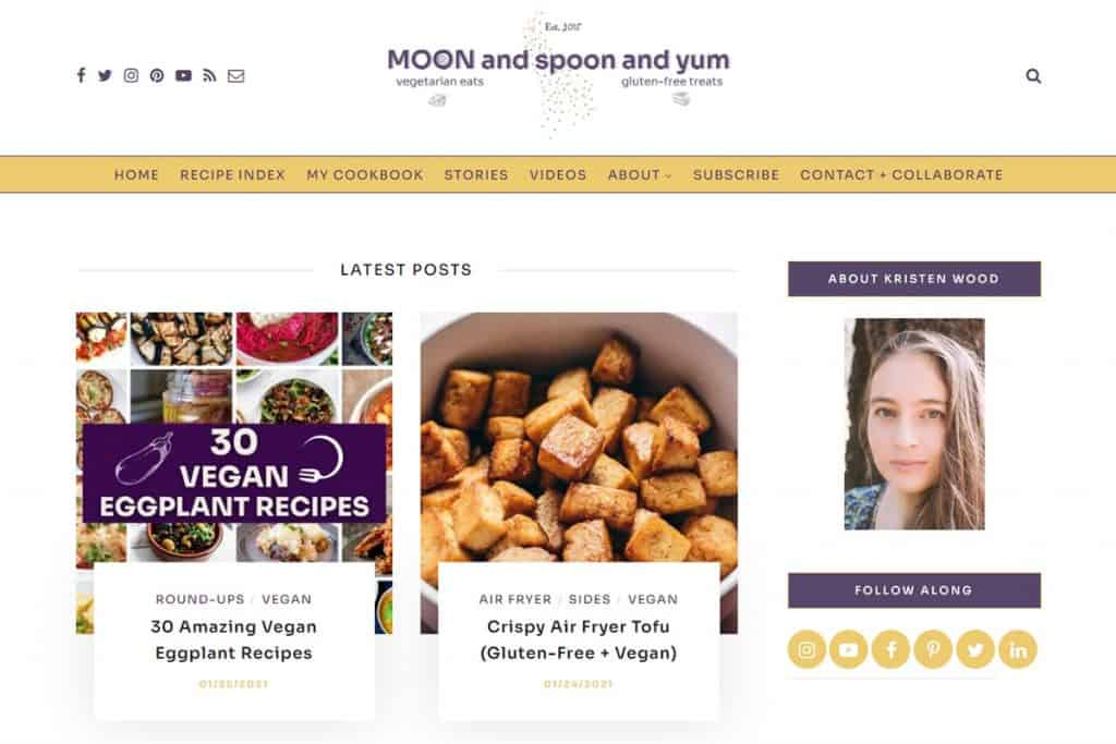 Screenshot of MOON and Spoon and Yum's website.