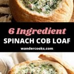 Two images of spinach cob loaf dip with text overlay.