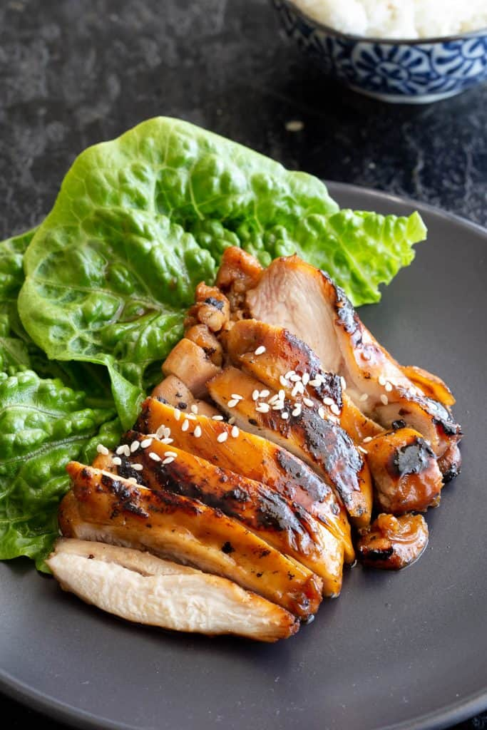 Sliced chicken coated in Japanese teriyaki sauce.