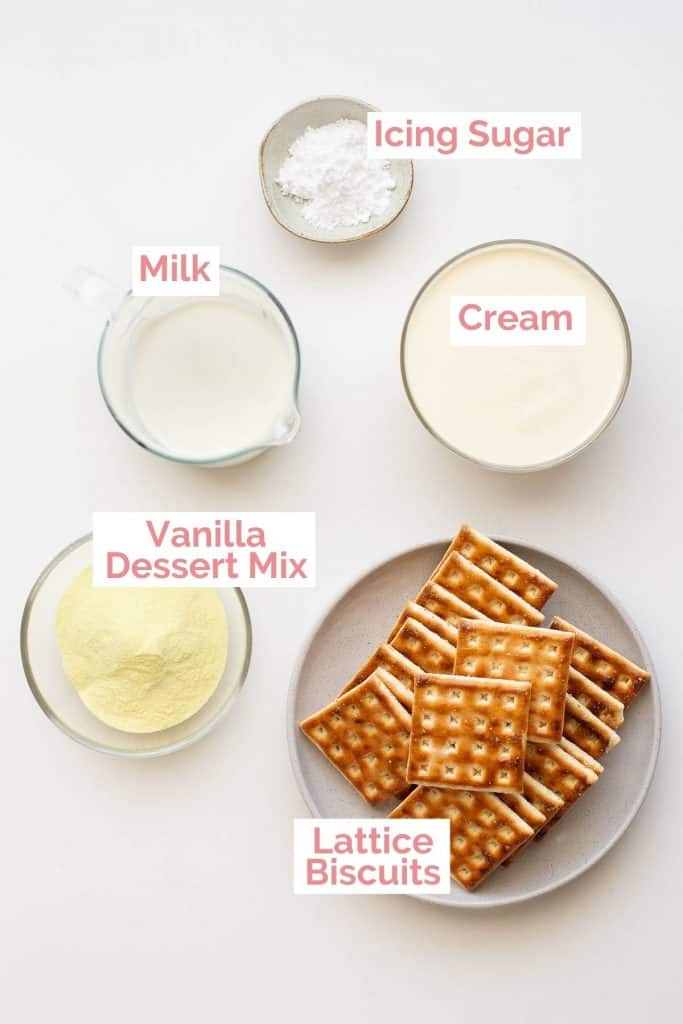 All the ingredients laid out for cheat's vanilla slice.