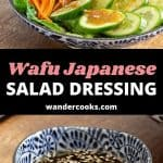 A collage of images showing wafu salad and dressing.