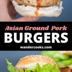 "Two images of pork burgers with tomato sauce and text that reads ""Asian Ground Pork Burgers Wandercooks.com""."