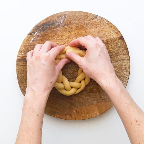Making an Italian Easter basket.