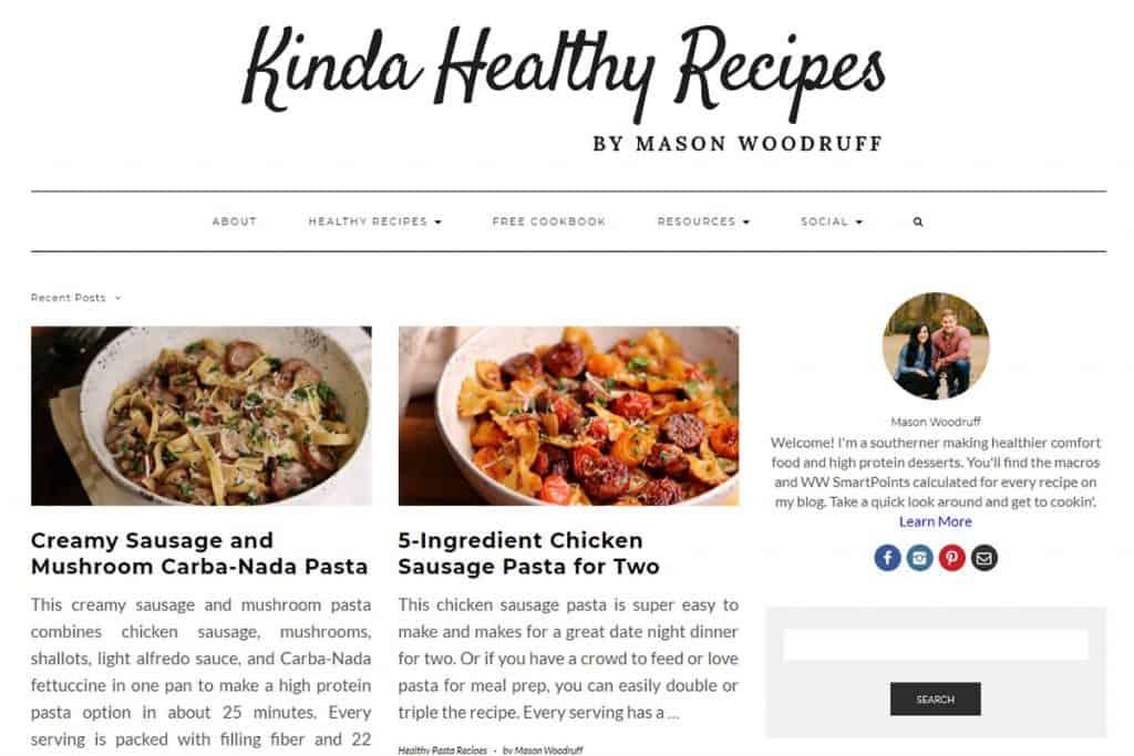 Screenshot of Kinda Healthy Recipes.