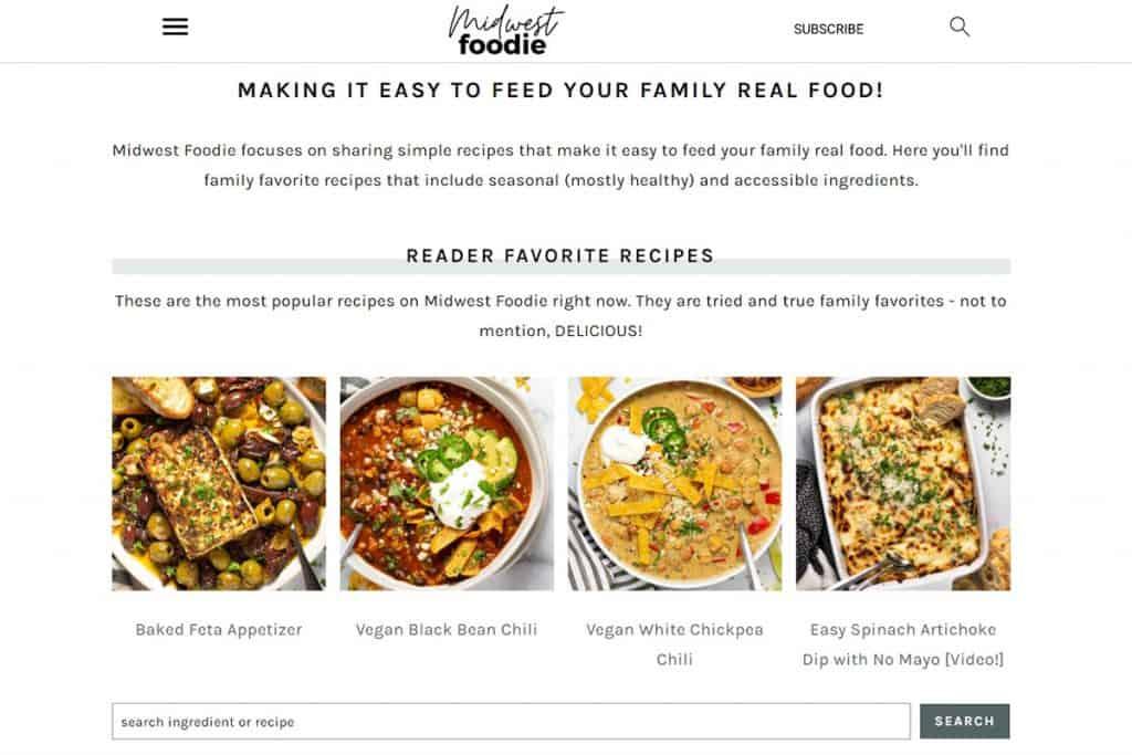 Screenshot of Midwest Foodie food blog.