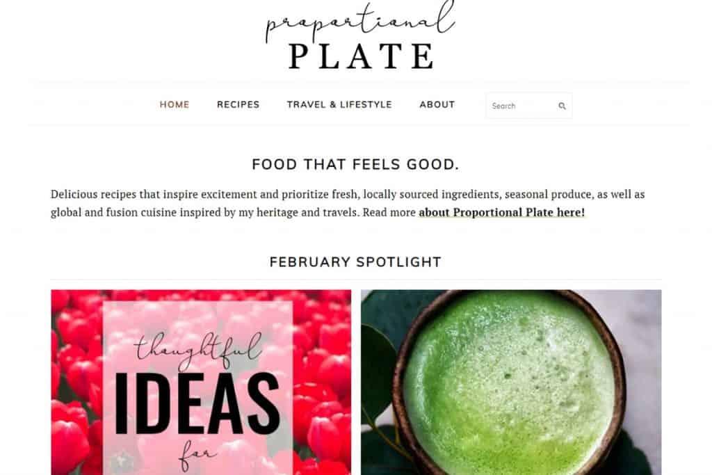 Screenshot of Proportional Plate website.