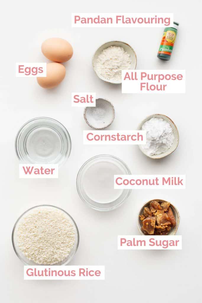 Ingredients laid out for kuih seri muka.