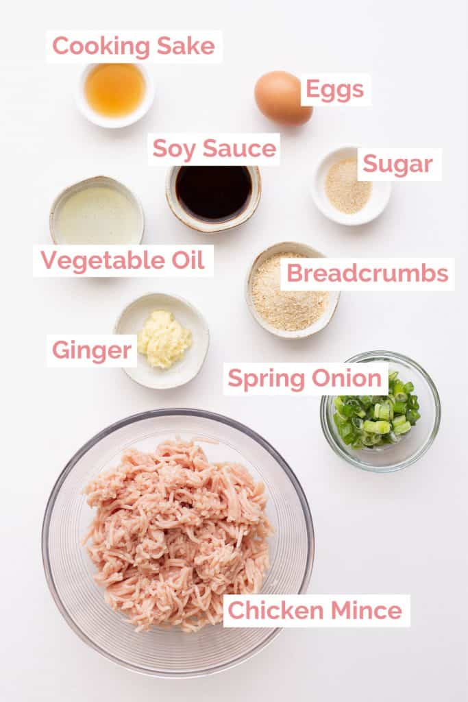Ingredients laid out to make Tsukune Chicken Meatballs.