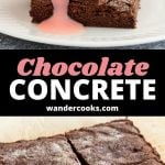 Two shots of sliced chocolate concrete cake, one with pink custard.