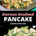 Two images showing a cooked seafood pancake and uncooked seafood pancake with text overlay.