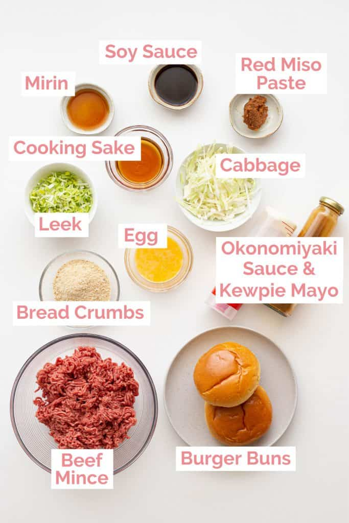 Ingredients laid out to make Japanese hamburgers.