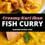 Two images of Indonesian fish curry with text overlay.
