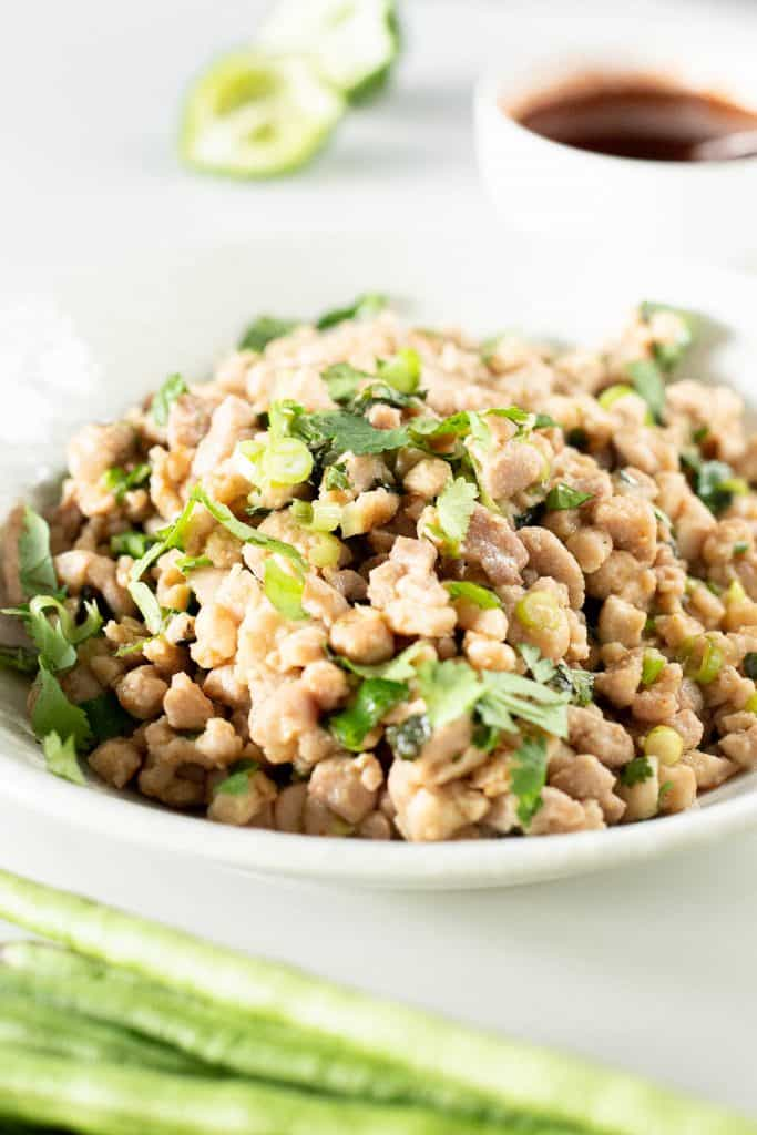 Close up dish of Lao Larb Gai with beans, lime and dipping sauce.