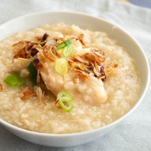 Close up of chao go - Vietnamese style chicken porridge.