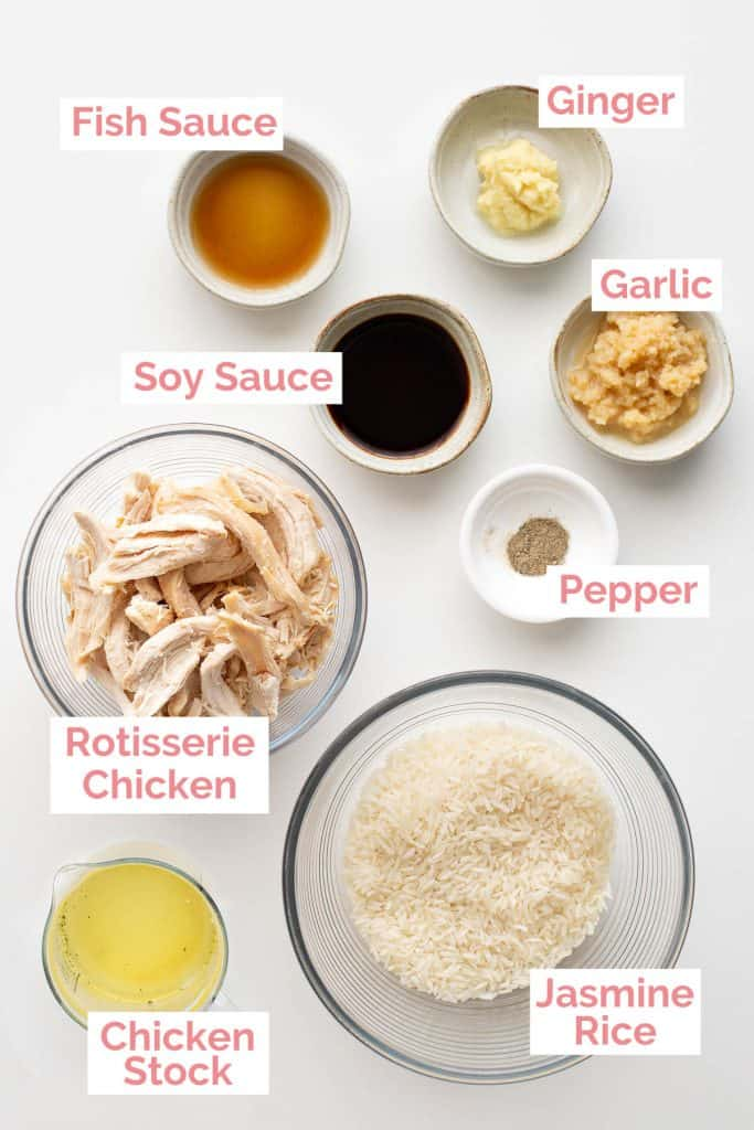 Ingredients laid out for chao ga.