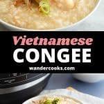 Two angles of Vietnamese chicken rice porridge (chao ga).