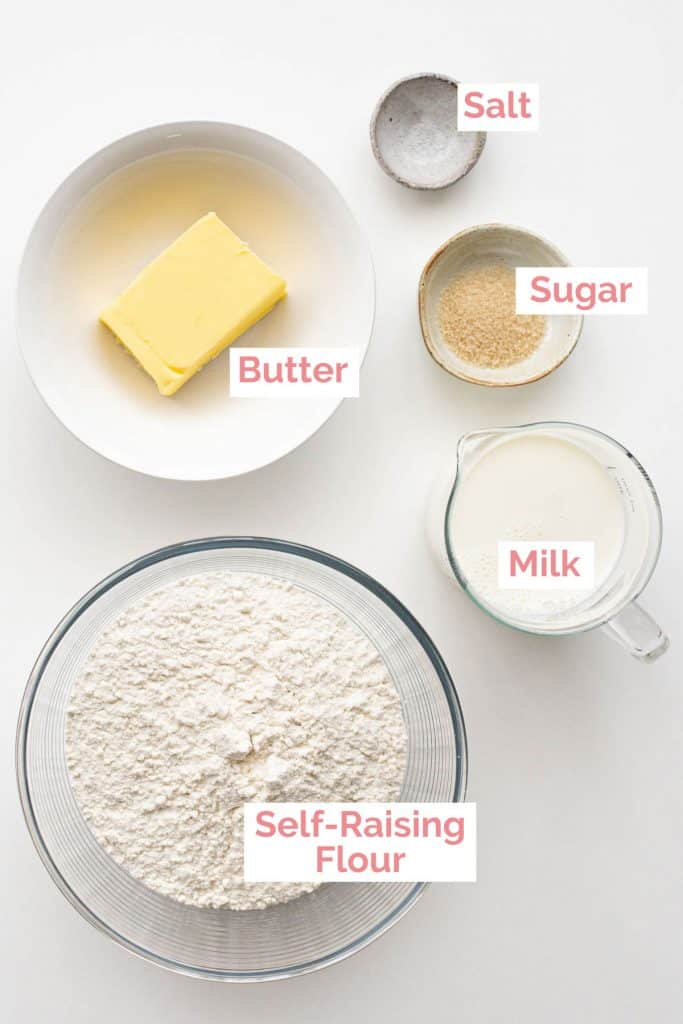 Ingredients laid out for scones.