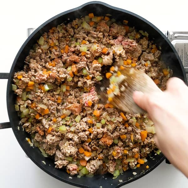 Browning the beef and pork mince.