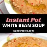 White bean soup in a white bowl from two angles.