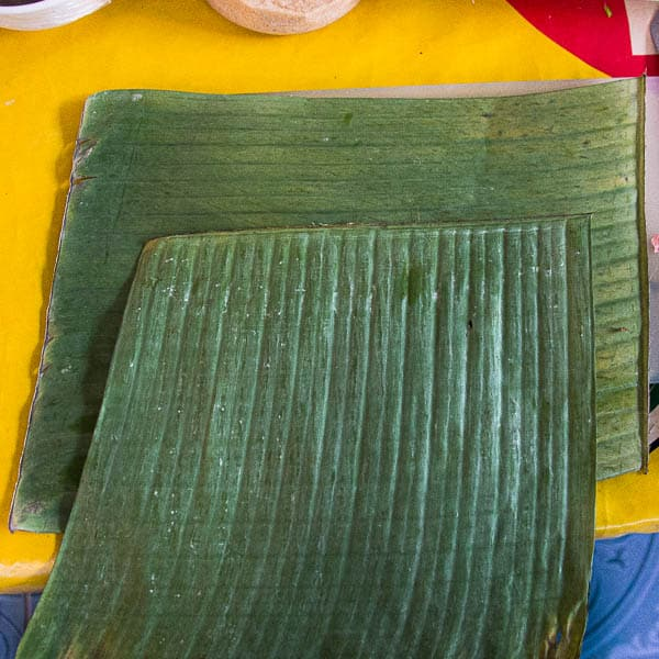 Two layers of banana leaf showing the grain - one is horizontal, the other vertical.