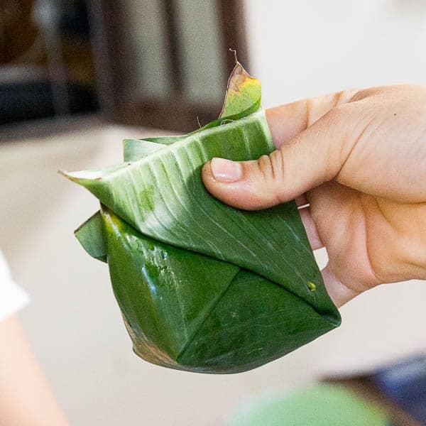 Banana leaf fish parcel.