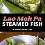 A collage of images showing Lao steamed fish, with text overlay.