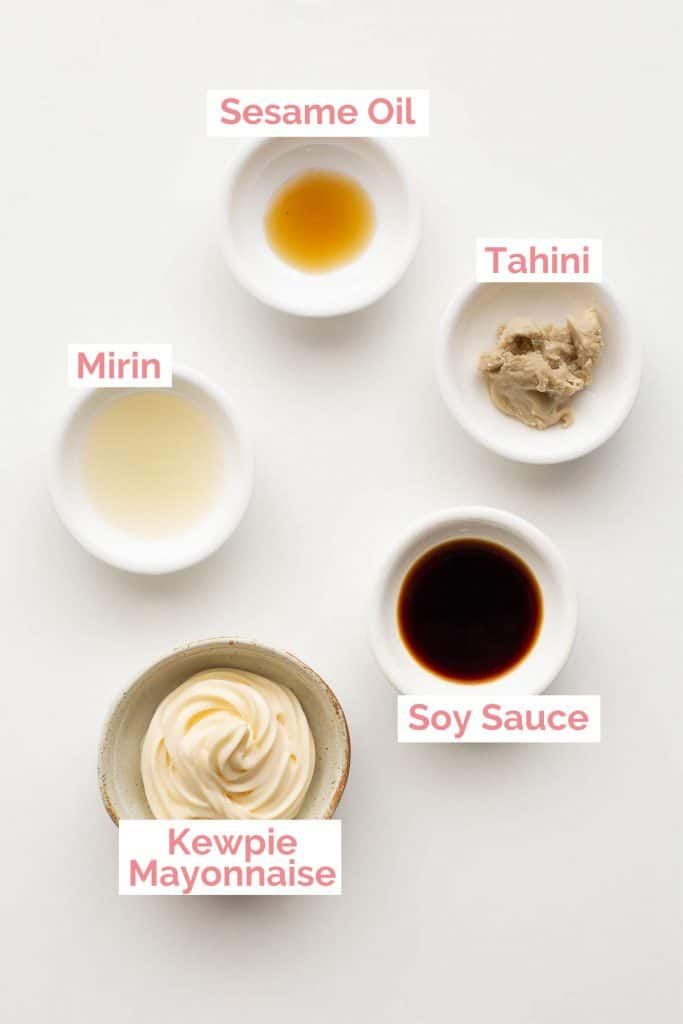 Ingredients laid out to make sesame dressing.