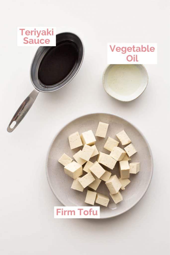 Ingredients laid out for teriyaki tofu.