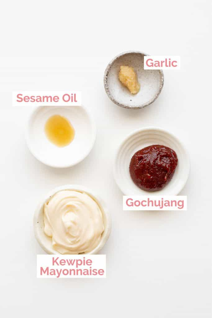 Ingredients laid out for gochujang mayonnaise.