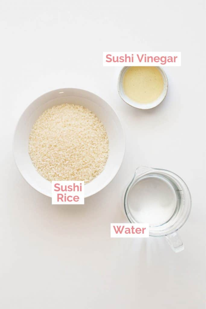 Ingredients laid out to make sushi rice.