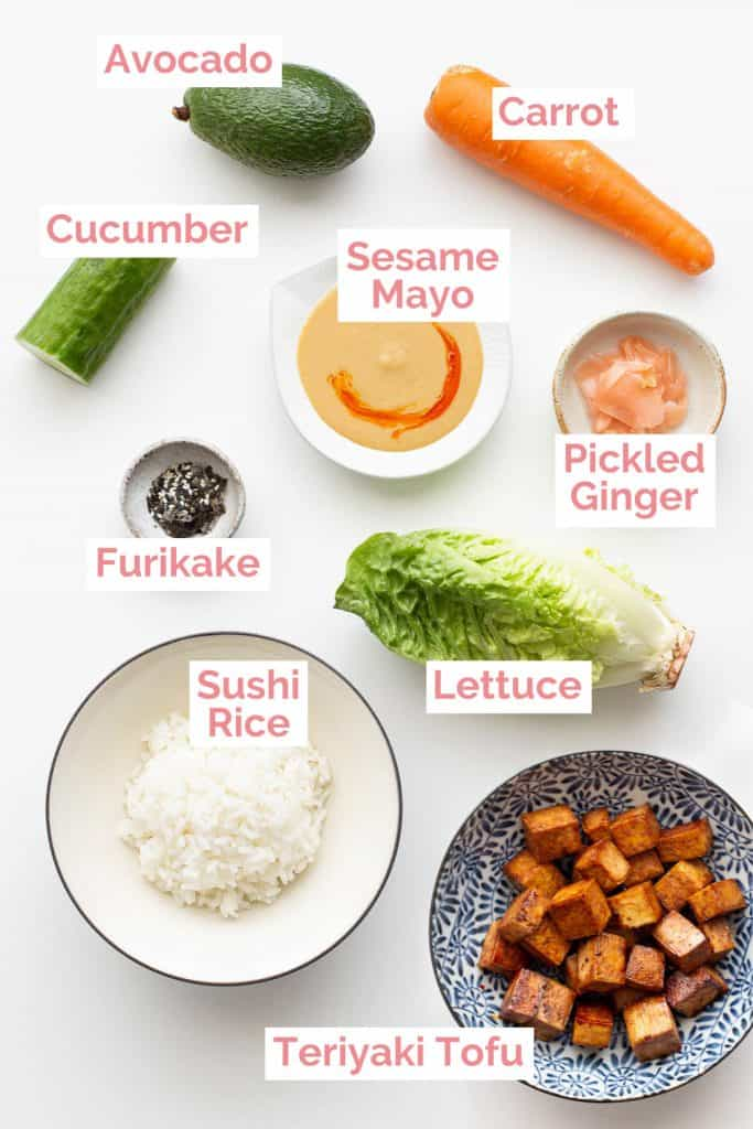 All the sushi bowl ingredients laid out.