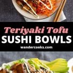 A collage of sushi bowl images with text overlay.