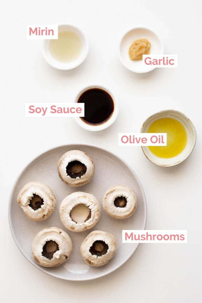 Ingredients laid out to make mushrooms in soy sauce.