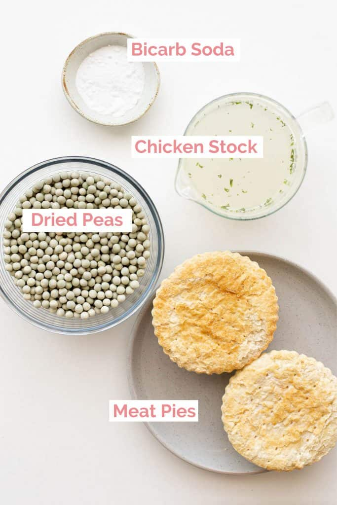 Ingredients laid out to make a South Australian Pie Floater.