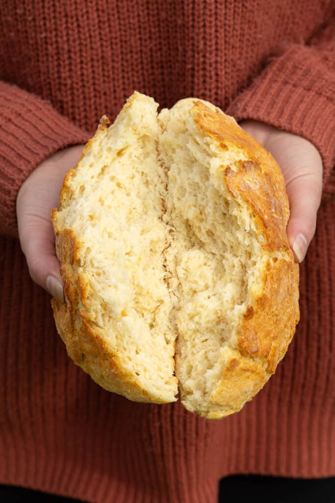 Damper split in half to show the crumb.