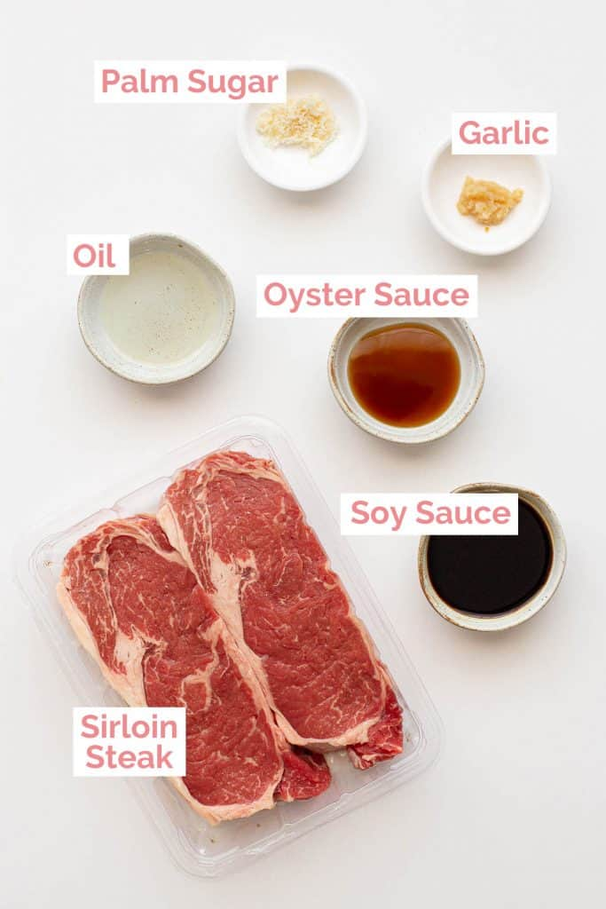 Ingredients laid out to make Thai Crying Tiger steak.